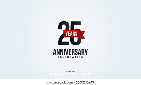 25th anniversary background with illustrations of numbers in a circle with writing on the ribbon.