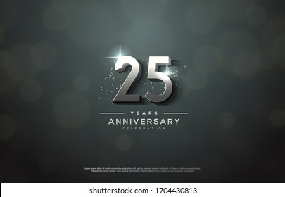 25th anniversary background number illustrations with color effects and sparkling light behind.
