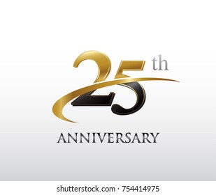 25th anniversary black and golden swoosh. simple logo vector design for greeting card and invitation card