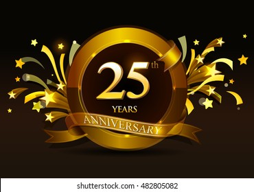 25th anniversary celebration with golden ring and ribbon