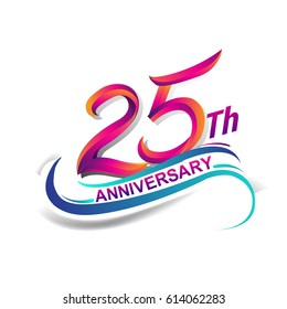 25th anniversary celebration logotype blue and red colored. twenty five years birthday logo on white background.