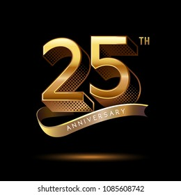 25th Anniversary celebration logotype colored with shiny gold, using ribbon and isolated on black background