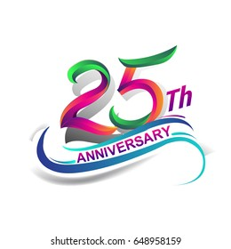 25th anniversary celebration logotype green and red colored. twenty five years birthday logo on white background.