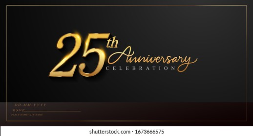 25th anniversary celebration logotype with handwriting golden color elegant design isolated on black background. vector anniversary for celebration, invitation card, and greeting card.