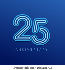 25th anniversary celebration logotype. anniversary logo with blue line color isolated on dark blue background, vector design for celebration, invitation card, and greeting card