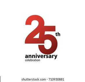 25th anniversary celebration logotype. anniversary logo simple isolated on white background, vector design for celebration, invitation card, and greeting card