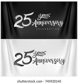 25th Anniversary Celebration Logotype. twenty five years Anniversary handmade Calligraphy. Vector Illustration.