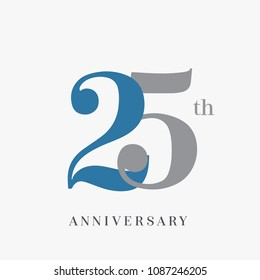 25th anniversary celebration overlapping number blue and grey simple logo, isolated on grey background