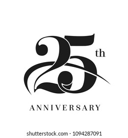 25th Anniversary Celebration simple monogram Design. pictogram vector icon, simple years birthday logo label, black and white stamp isolated
