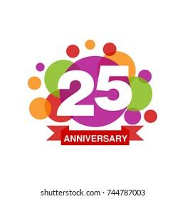 25th anniversary colored logo design, happy holiday festive celebration emblem with ribbon vector Illustration