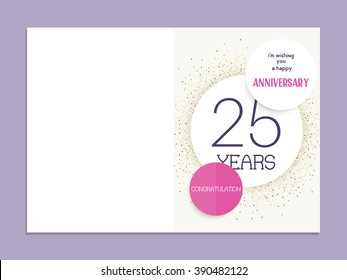 25th anniversary decorated greeting card template.