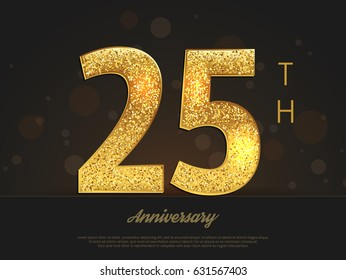 25th anniversary decorated greeting/invitation card template.
