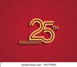 25th anniversary design logotype with line style golden color for celebration event isolated on red background