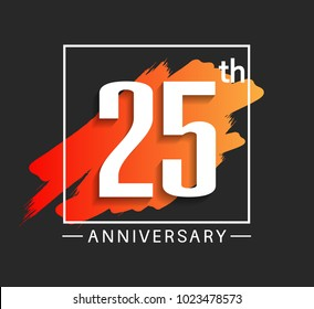 25th anniversary design with orange color brush in square isolated on black background for celebration