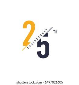 25th anniversary design. Vector illustration