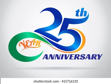 25th anniversary with an infinity symbol. Creative design.