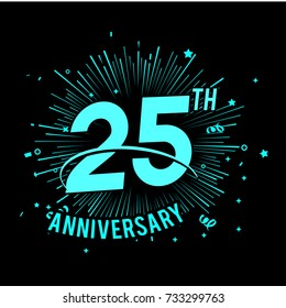 25th anniversary logo with firework background. glow in the dark design concept