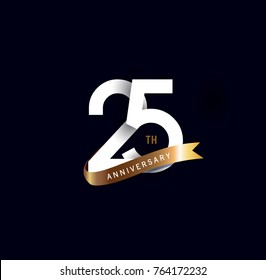 25th anniversary logo with gold ribbon. template design for web, game ,Creative poster, booklet, leaflet, flyer, magazine, invitation card
