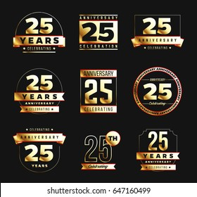 25th anniversary logo set with golden elements. Vector illustration.