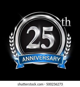 25th anniversary logo with silver ring combination blue ribbon. Vector template for birthday celebration, party, wedding, invitation and greeting card