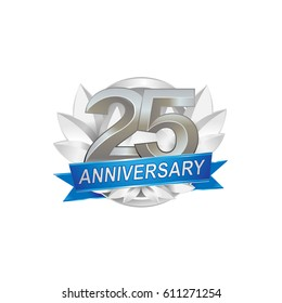 25th Anniversary logo with silver wreath, silver number, blue ribbon