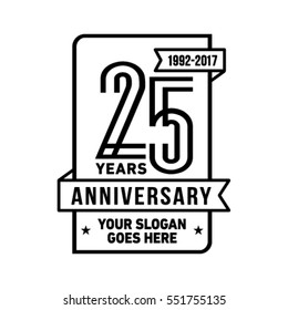 25th anniversary logo. Vector and illustration.