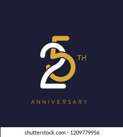25th anniversary logo.overlapping number with simple monogram color. vector design for greeting card and invitation card.