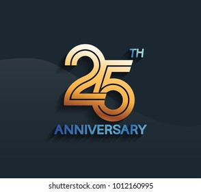 25th anniversary logotype with multiple line golden color isolated on dark blue background for celebration