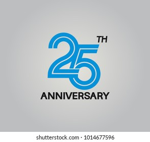 25th anniversary logotype with multiple line style blue color isolated on white background for celebration