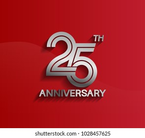 25th anniversary logotype silver color with multiple line style for celebration event