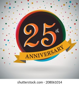 25th Anniversary poster / template design in retro style - Vector Background