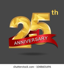 25th anniversary years celebration logotype. Logo gold numbers and ribbon gray background.
