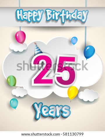 25th Birthday Celebration Design With Clouds And Balloons Greeting Card Invitation For