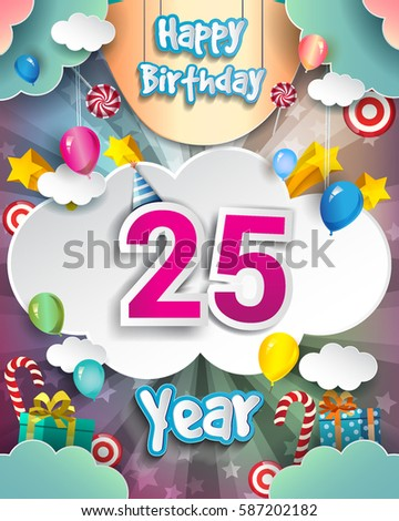 25th Birthday Celebration Greeting Card Design With Clouds And Balloons Vector Elements For The