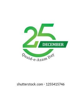 25th December - Quaid-e-Azam Day Vector Logo (Founder of Pakistan's Birthday Celebration Day)
