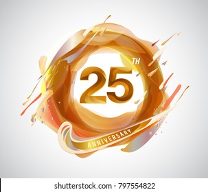 25th gold anniversary logo. abstract liquid color elements celebration background design