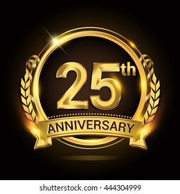 25th golden anniversary logo, 25 years anniversary celebration with ring and ribbon, Golden anniversary laurel wreath design.