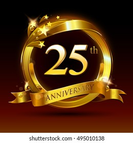 25th golden anniversary logo, 25 years anniversary celebration with ring and ribbon.