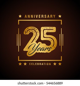 25th golden anniversary logo, laurel wreath isolated on black background, vector design