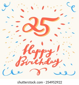 25th Happy Birthday card.