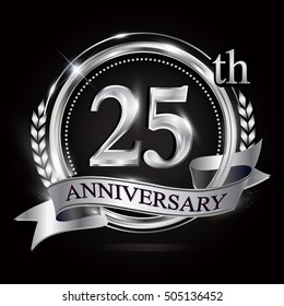 25th silver anniversary logo with ring and ribbon.