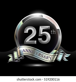 25th silver anniversary logo, vector celebration design with ring and ribbon.
