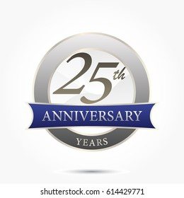 25th year anniversary logo vector isolated in silver circle frame with blue ribbon and shadow effect