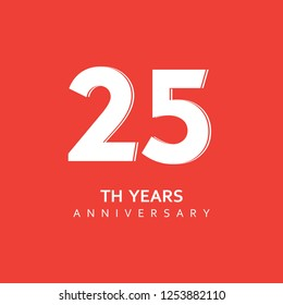 25th Year Anniversary Vector Template Design Illustration.