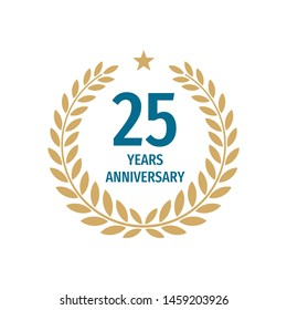 25th years anniversary badge design with a laurel wreath. Twenty five years birthday logo emblem.