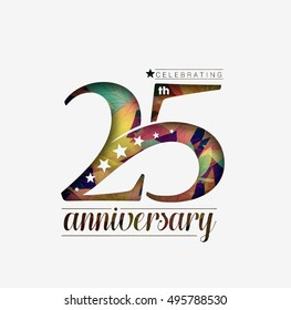 25th Years Anniversary Celebration Design. Star Design Background.