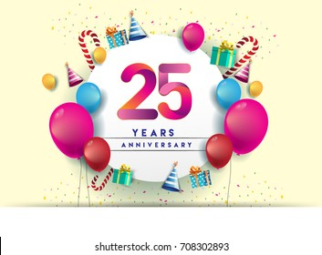 25th years Anniversary Celebration Design with balloons and gift box, Colorful design elements for banner and invitation card.