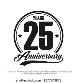 25th years anniversary celebration emblem logo label, black and white stamp isolated, vector illustration template design for celebration greeting card and invitation card