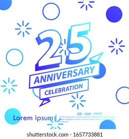 25th years anniversary celebration emblem. blue gradient anniversary logo with ribbon on Memphis style background, vector illustration template design for web, flyers, greeting card & invitation card