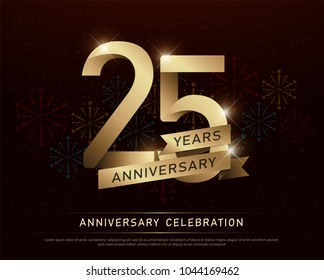 25th years anniversary celebration gold number and golden ribbons with fireworks on dark background. vector illustration